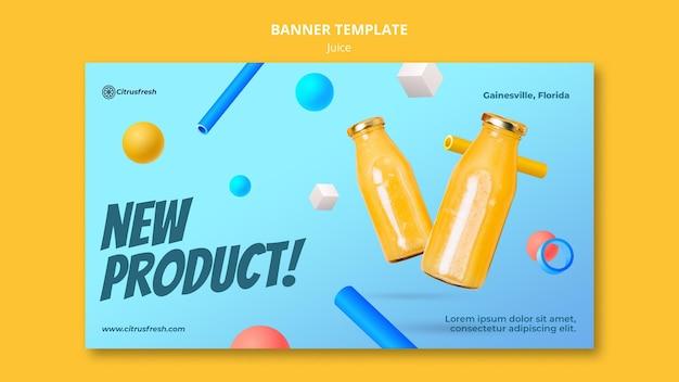 Modello di banner per rinfrescare il succo d'arancia in bottiglie di vetro Psd Gratuite