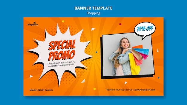 Banner template for shopping with woman holding shopping bags Free Psd