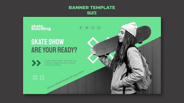 Banner template for skateboarding with female skateboarder Free Psd