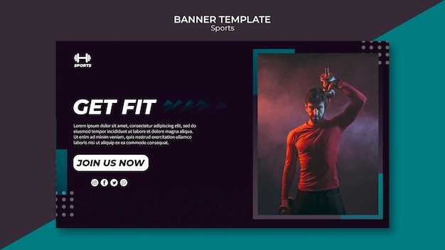 Banner template for sports event Free Psd