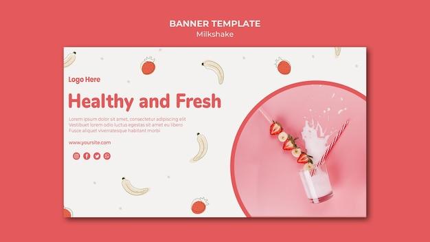 Banner template for strawberry milkshake Free Psd