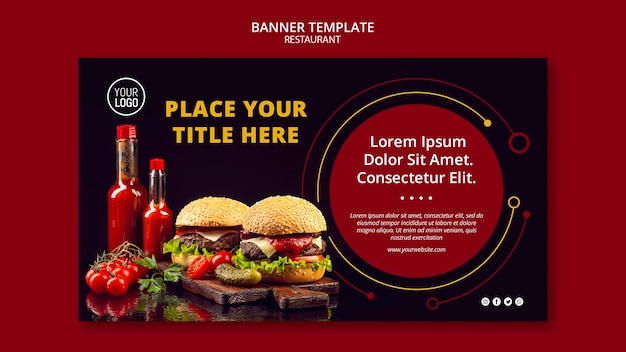 Banner template style for restaurant Free Psd