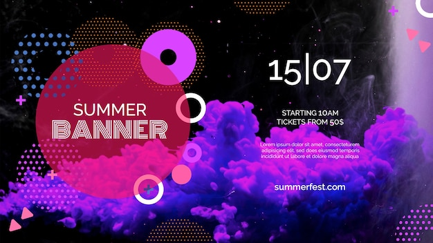 Banner template for summer festival Free Psd