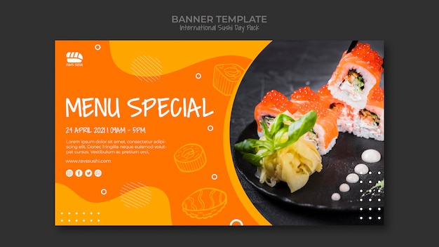 Banner template for sushi restaurant Free Psd
