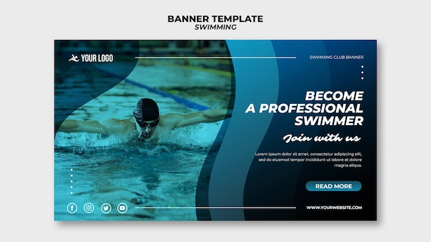 Banner template for swimming lessons with man in the pool Free Psd