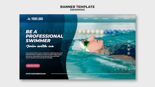 Banner template for swimming lessons with woman in the pool Free Psd
