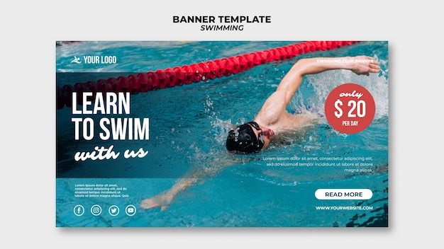 Banner template for swimming with professional swimmer Free Psd