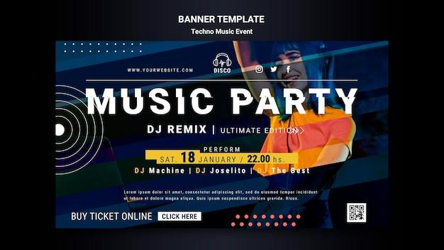 Modello di banner per la festa notturna di musica techno Psd Gratuite