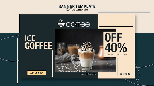 Banner template theme with coffee Free Psd