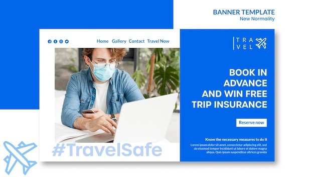 Banner template for travel booking Free Psd