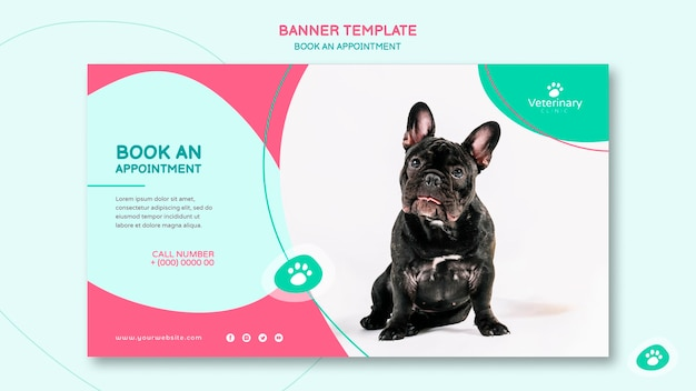 Banner template for vet appointment Free Psd