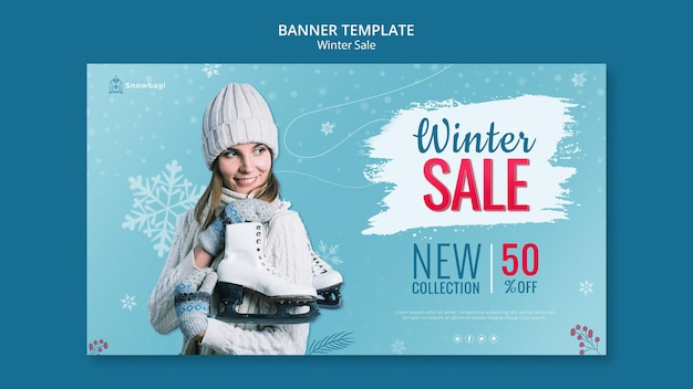 Banner template for winter sale with woman and snowflakes Free Psd