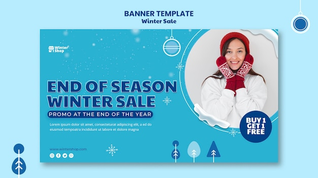 Banner template for winter sale Free Psd