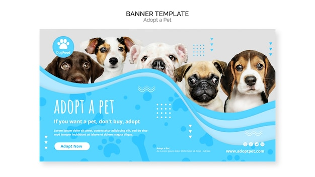 Banner template with adopt pet concept Free Psd