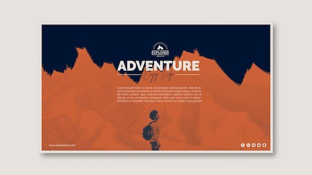 Banner template with adventure concept Free Psd