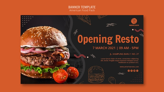 Banner template with american food Free Psd