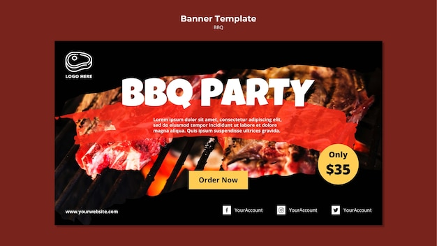 Banner template with barbeque concept Free Psd