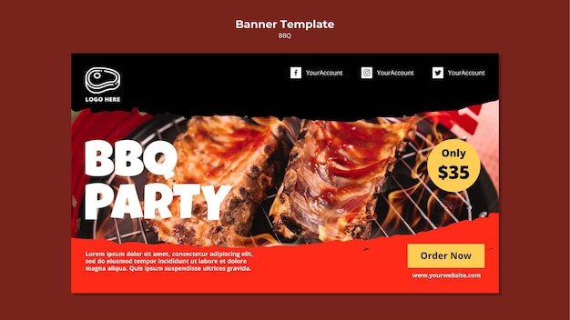 Banner template with barbeque design Free Psd