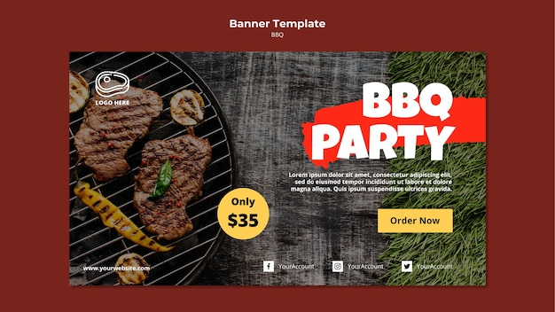 Banner template with barbeque template Free Psd