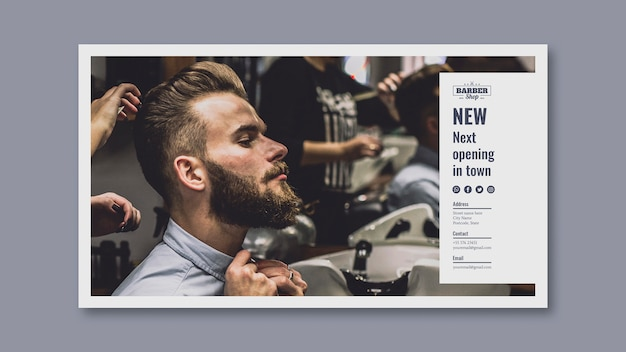 Banner template with barber concept Free Psd