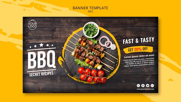 Banner template with bbq theme Free Psd