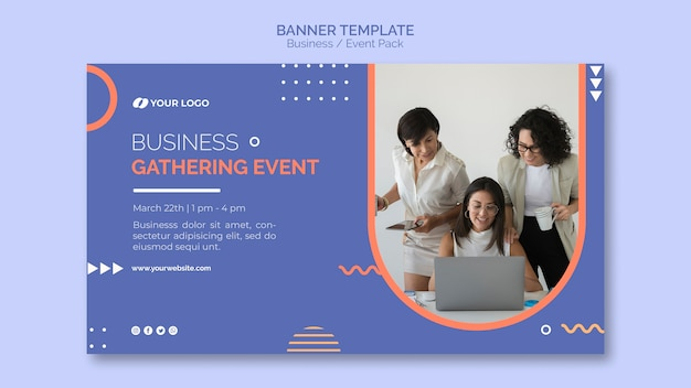 banner template with business event concept free psd file. Black Bedroom Furniture Sets. Home Design Ideas