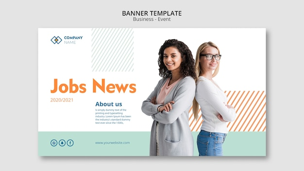 Banner template with business woman concept Free Psd