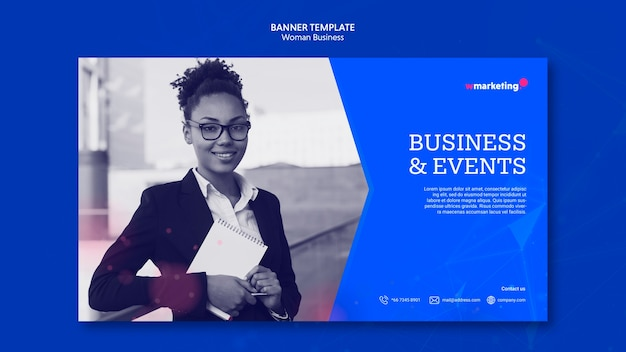 Banner template with business woman Free Psd