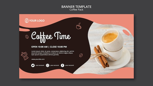 Banner template with coffee concept Free Psd