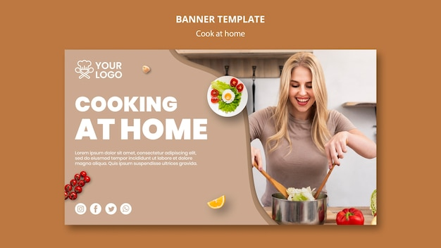 Banner Template With Cooking Concept Free Psd File