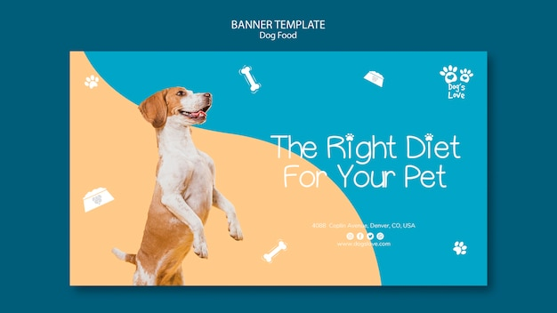 Banner template with dog food concept Free Psd