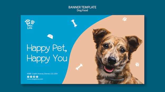Banner template with dog food design Free Psd
