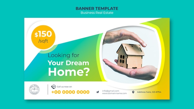 Banner template with dream home Free Psd