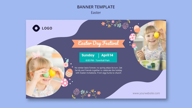 Banner template with easter day theme Free Psd