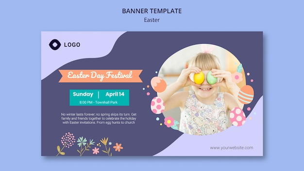Banner template with easter day Free Psd