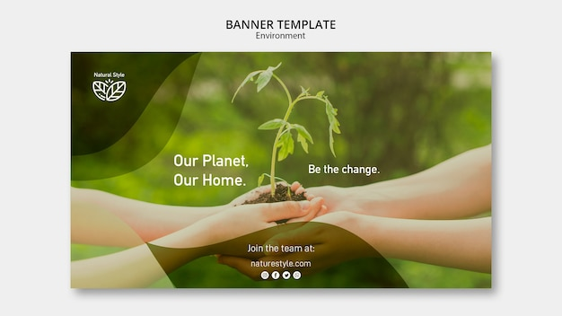 Banner template with environment concept Free Psd