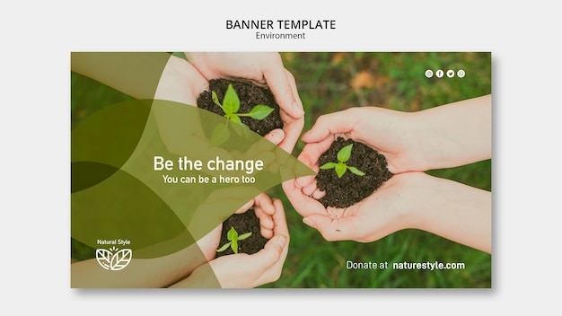 Banner template with environment theme Free Psd