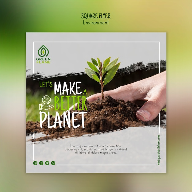 Banner template with hand planting tree Free Psd