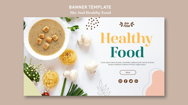 Banner template with healthy food Free Psd
