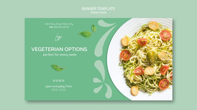 Banner template with italian food theme Free Psd