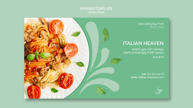 Banner template with italian food Free Psd
