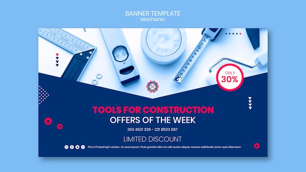 Banner template with mechanic concept Free Psd
