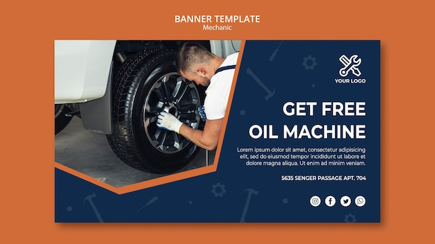 Banner template with mechanic repairing car Free Psd