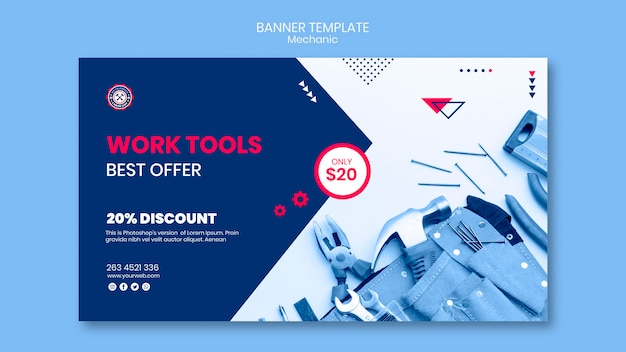 Banner template with mechanic Free Psd