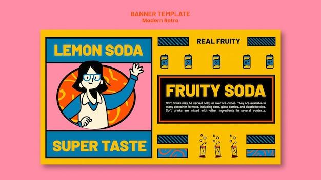 청량 음료에 대 한 현대적인 빈티지 디자인 배너 서식 파일 무료 PSD 파일