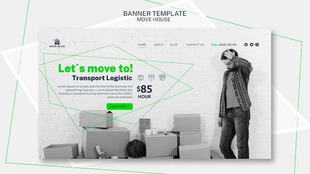 Banner template with moving service Free Psd
