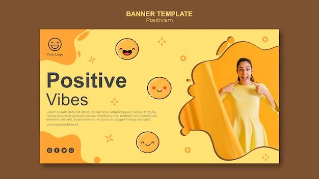 Шаблон баннера с позитивными флюидами Бесплатные Psd