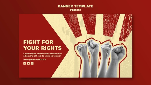Banner template with protesting for human rights Free Psd