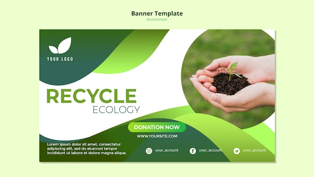 Banner template with recycle theme Free Psd