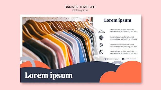 Banner template with shirts on hangers Free Psd